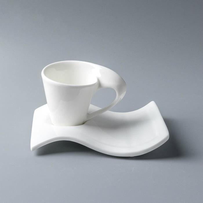 Service à café avec soucoupes,Tasse de café Expresso à cappuccino, blanc pur et créatif, avec soucoupe, Design - Type WHITE - 80ml