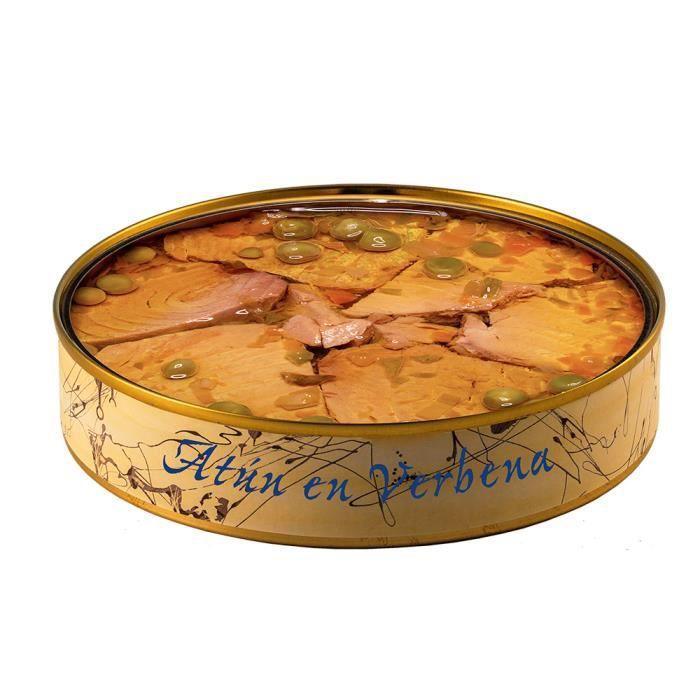 Thon à la Verveine à l'Huile d'Olive de 280 grammes. Poisson en conserve -El Ronqueo- fabriqué à la main à Barbate (Espagne)