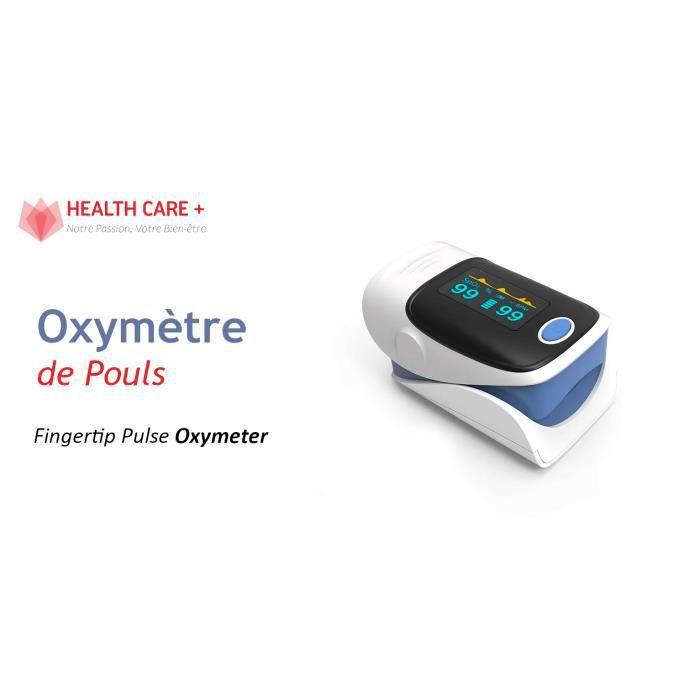 Oxymètre de Pouls de Doigt Professionnel + 2 Piles PANASONIC, Saturomètre mesure Saturation Oxygène (%SpO2) + Fréquence Cardiaque