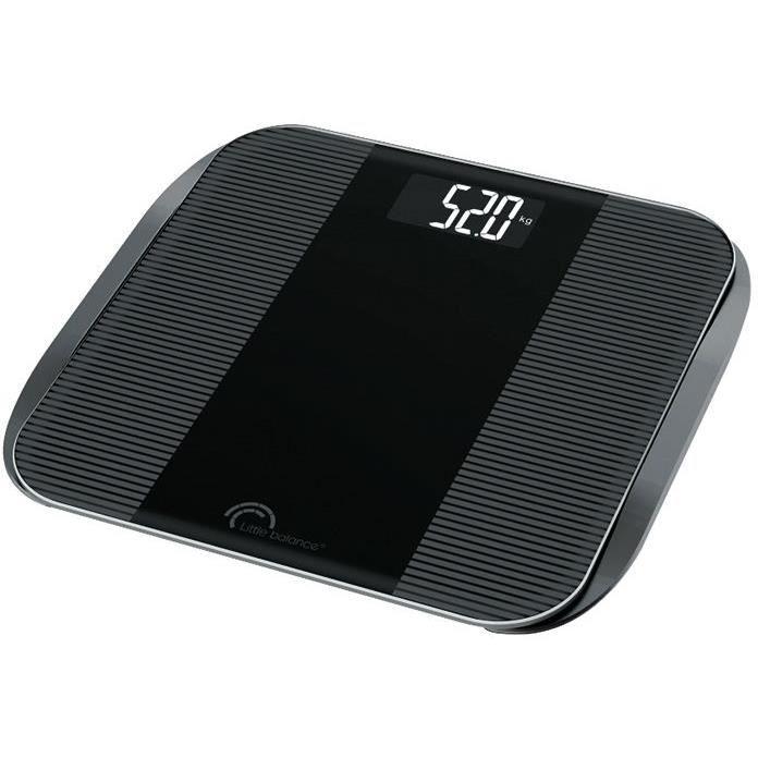 LITTLE BALANCE Pèse-personne Slim Wave LCD - 180 kg / 100 g - Noir brillant