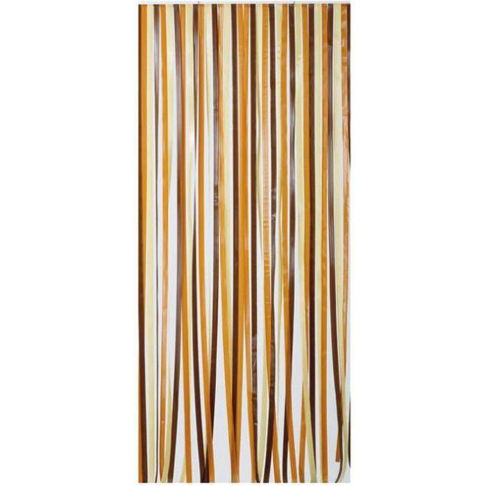 MOREL - Rideau de porte polyéthylène Antilles brun et beige 120x220 cm