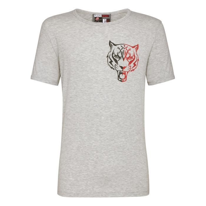 PLEIN SPORT Tshirt - Grey - For Men - édition -Basic Tiger- - Référence : MTK1760STE008N10