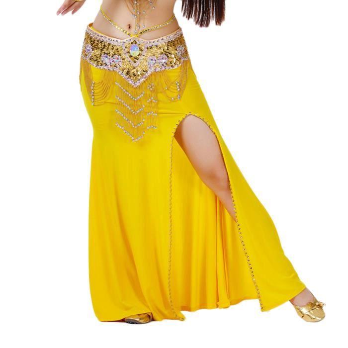 Jupe De Danse Longue Pour Femme Sans Ceinture Jaune
