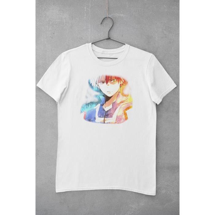 T Shirt Blanc Unisexe Illustration de Shoto Todoroki Personnage du manga My Hero Academia