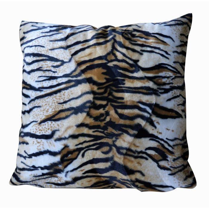 O'CBO Coussin déhoussable fourrure Tigre - 57 x 57 cm - Noir, crème et orange