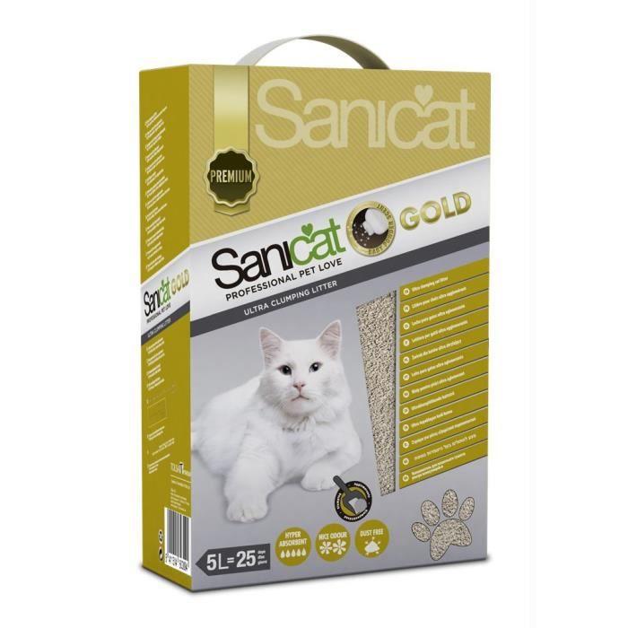 SANICAT Litière Gold Ultra Clumping 5L - Pour chat