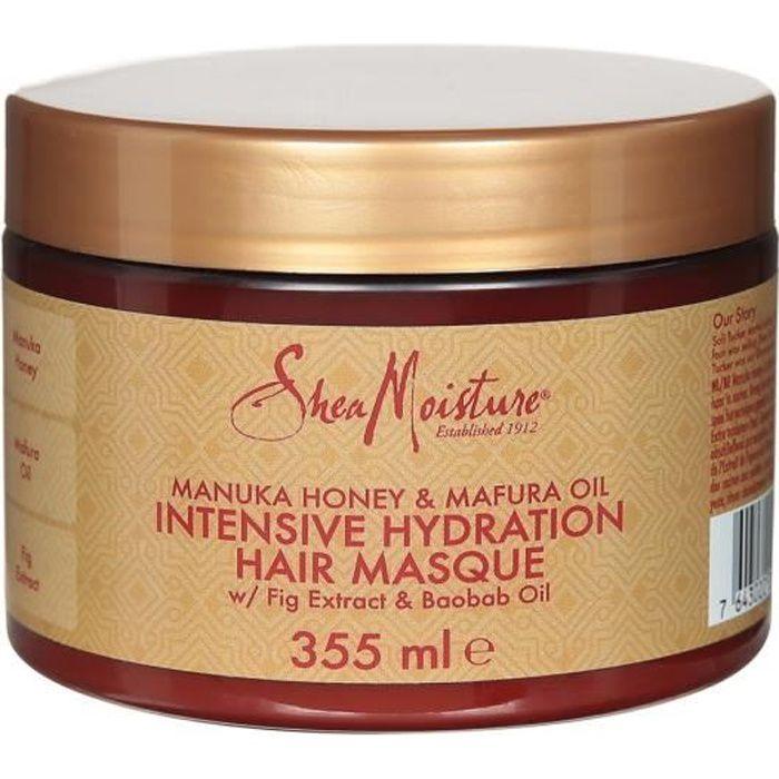 Shea Moisture Masque Hydratation Intense pour cheveux secs et abîmés au Miel de Manuka et huile de Mafura, 355ml
