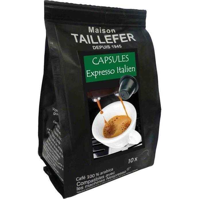 MAISON TAILLEFER Café capsule expresso italien x10