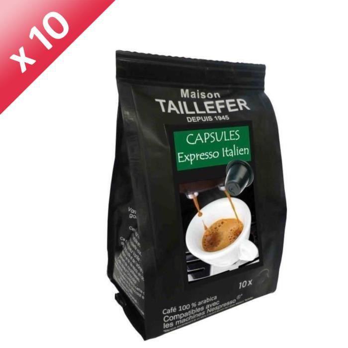 10 paquets de 10 capsules de Café Expresso Italien MAISON TAILLEFER