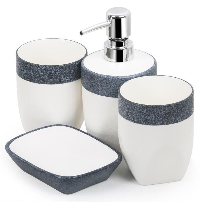 4 Articles de Salle de bain Distributeur de Savon Ensemble de Récipients Blancs et Imitation Granit TRIXES