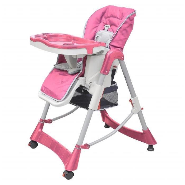 Chaise haute pour bébés Deluxe Rose Hauteur réglable-Hobbystore