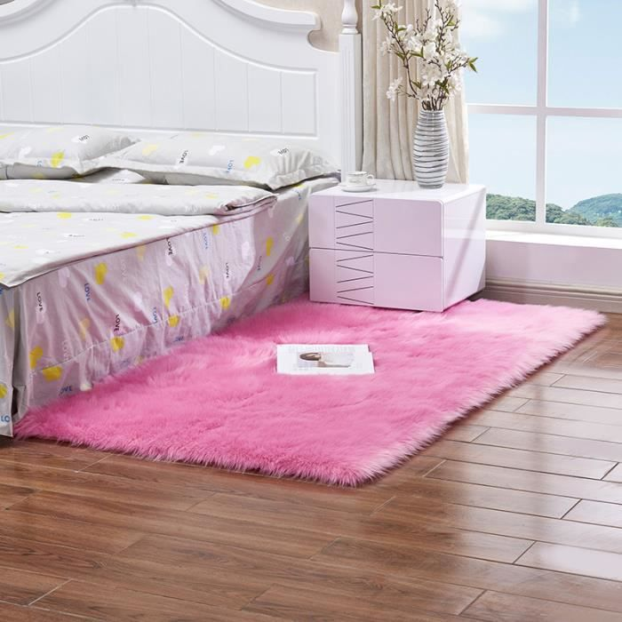 Tapis Salon Carpet Chambre Shaggy Yoga Moquette Anti Dérapage Absorbant  Rose Rouge