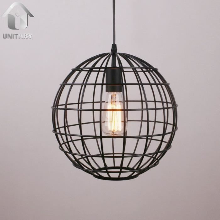 suspension metal cage boule globe e27 1x60w noir peint achat vente suspension metal cage. Black Bedroom Furniture Sets. Home Design Ideas