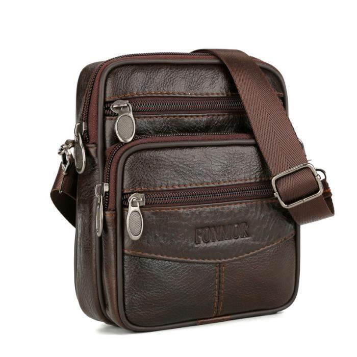 Sacoche pour homme en cuir v/éritbale Classique taille unique Brown-009