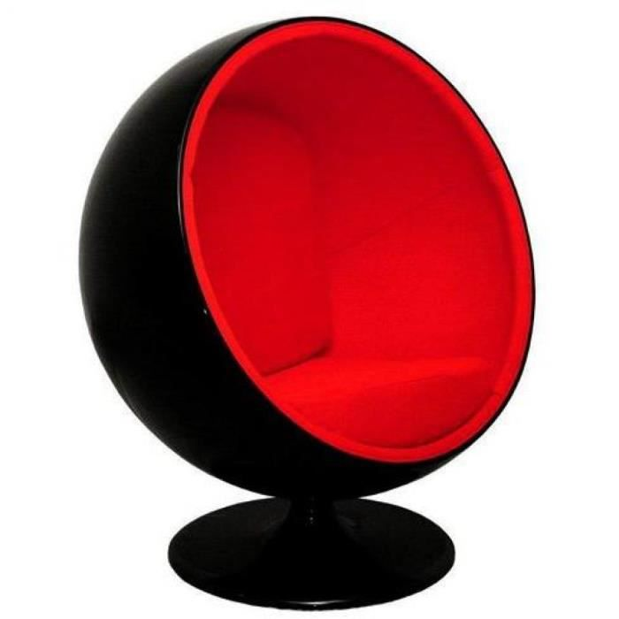 fauteuil boule design noir rouge achat vente fauteuil mati re de la structure plastique. Black Bedroom Furniture Sets. Home Design Ideas