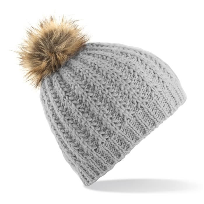 Bonnet gris femme pompon fourrure synthetique