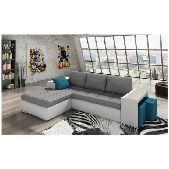 canap d 39 angle convertible kawa gris et blanc 2 angle. Black Bedroom Furniture Sets. Home Design Ideas