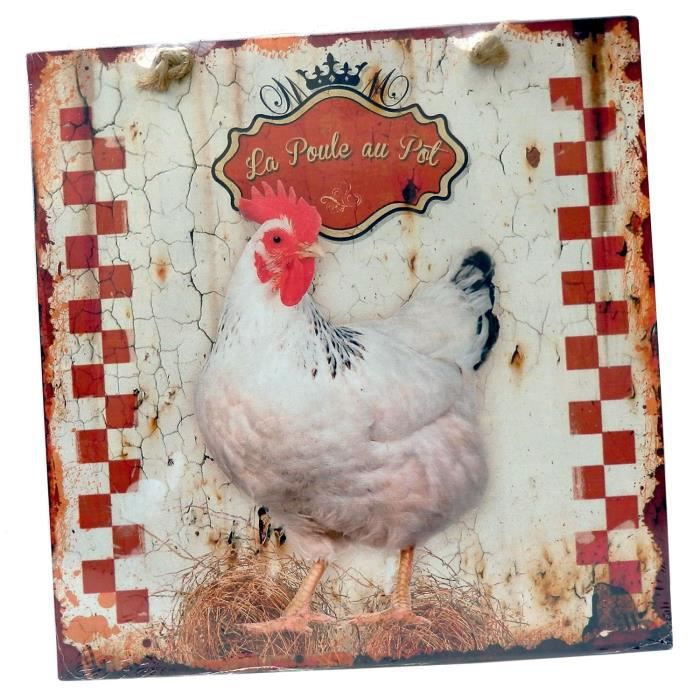 Plaque d corative la poule au pot en m tal d coration for Plaque murale decorative metal