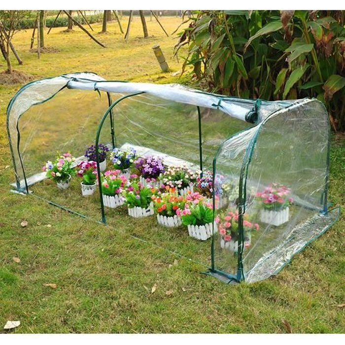 serre de jardin tunnel tente b che pvc transparent achat vente serre de jardinage serre de. Black Bedroom Furniture Sets. Home Design Ideas
