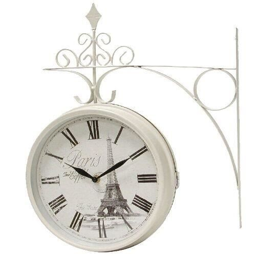 horloge de gare double face retro 25 cm blanc achat. Black Bedroom Furniture Sets. Home Design Ideas