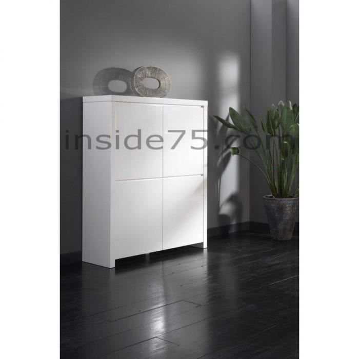 hello buffet haut 4 portes laqu blanc brillant achat. Black Bedroom Furniture Sets. Home Design Ideas