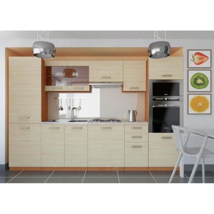 justhome syntka cuisine quip e compl te 300 cm couleur ch ne clair achat vente cuisine. Black Bedroom Furniture Sets. Home Design Ideas