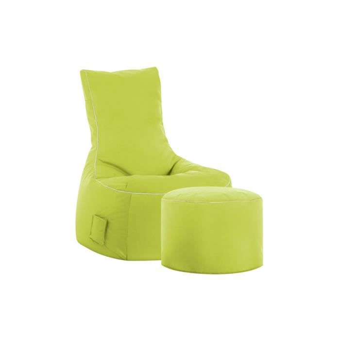 Fauteuil repose pieds swing vert anis achat vente fauteuil 100 polyest - Fauteuil cabriolet vert anis ...