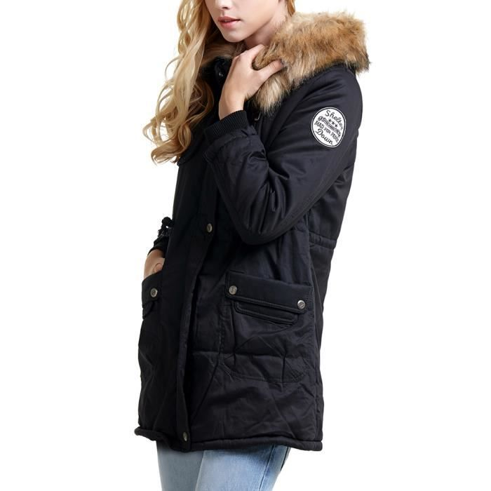 femme veste parka manteau hiver long epais avec rembourrage zip et capuche noir achat vente. Black Bedroom Furniture Sets. Home Design Ideas