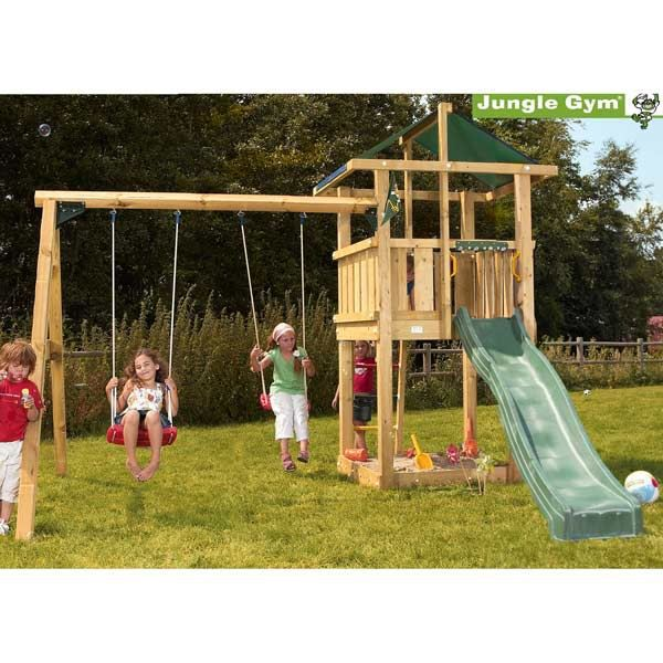 kit cabane bois jungle gym hut swing et toboggan achat. Black Bedroom Furniture Sets. Home Design Ideas