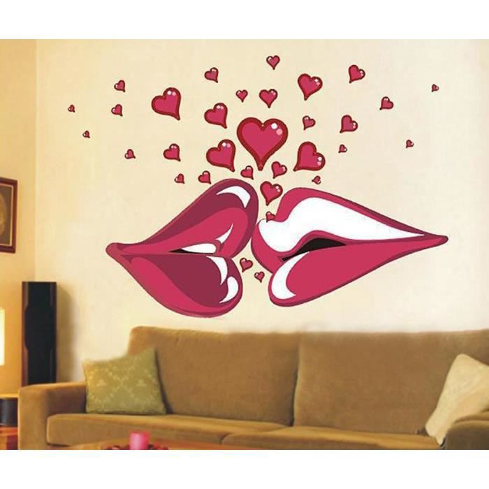 mur pvc autocollants paysage chambre fond l vres rouges romantiques stickers muraux yonger. Black Bedroom Furniture Sets. Home Design Ideas