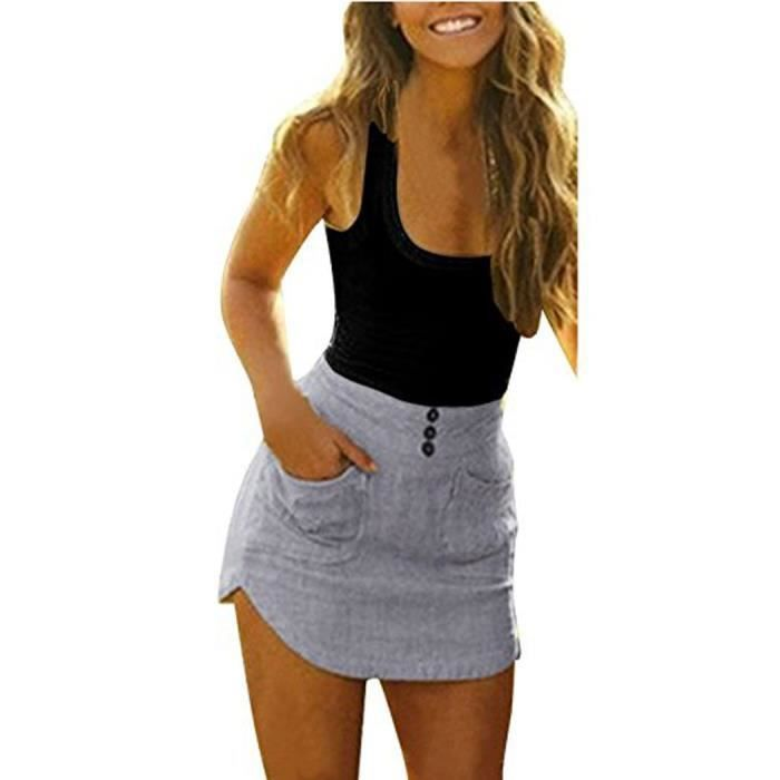 Womens Casual Sleeveless Slim Bodycon Pocket Beach Sun Mini Patchwork Dress 2LB8GE Taille-38