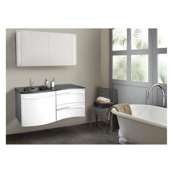 Meuble salle de bain blanc + vasque noire - à suspendre 120 cm POLY