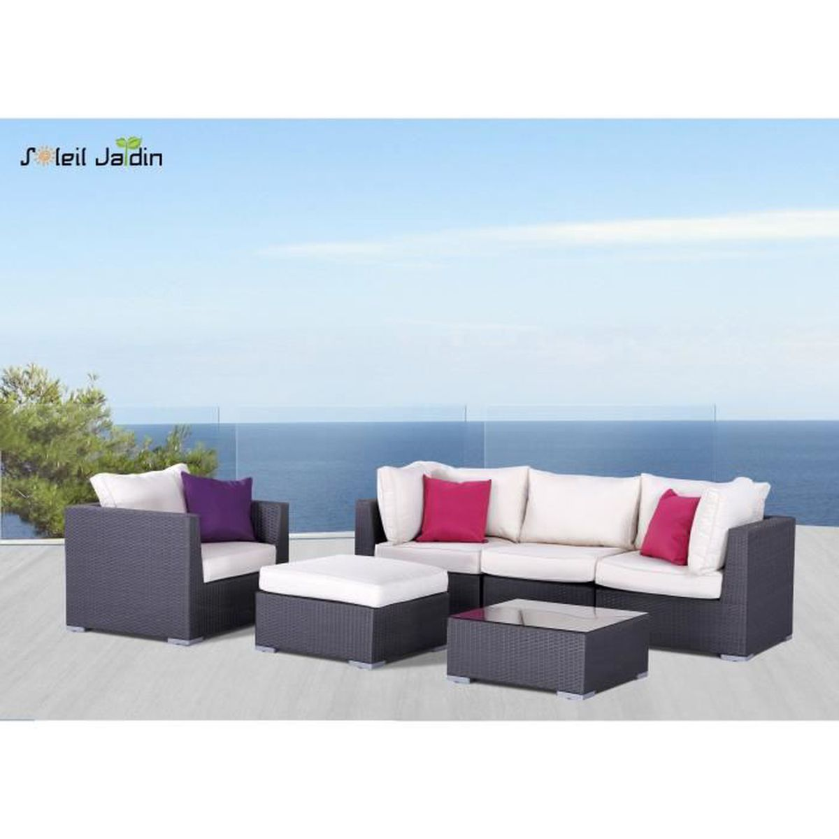 Salon de jardin en r sine tress e venise gris achat for But salon de jardin