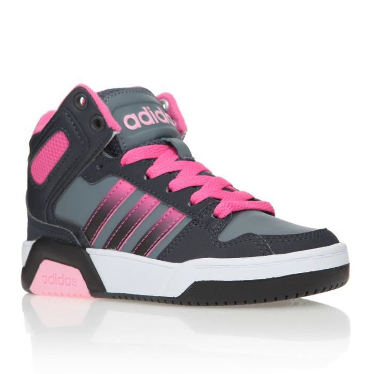 adidas neo baskets bb9tis chaussures enfant fille gris noir et rose achat vente basket. Black Bedroom Furniture Sets. Home Design Ideas