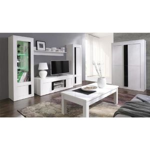 living blanc laque achat vente living blanc laque pas cher soldes cdiscount. Black Bedroom Furniture Sets. Home Design Ideas