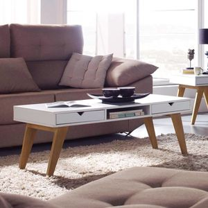 TABLE BASSE Table basse scandinave blanche LENA L 120 x P 45 x