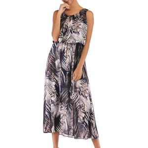 ROBE Mode féminine O-Neck manches Foral imprimé en mous
