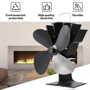 augmente lair chaud de 80/% plus que les ventilateurs /à 2 lames avec 4 lames pour le bois//Br/ûleur /à bois//Chemin/ée noire /écologique Ventilateur /à po/êle aliment/é par la chaleur