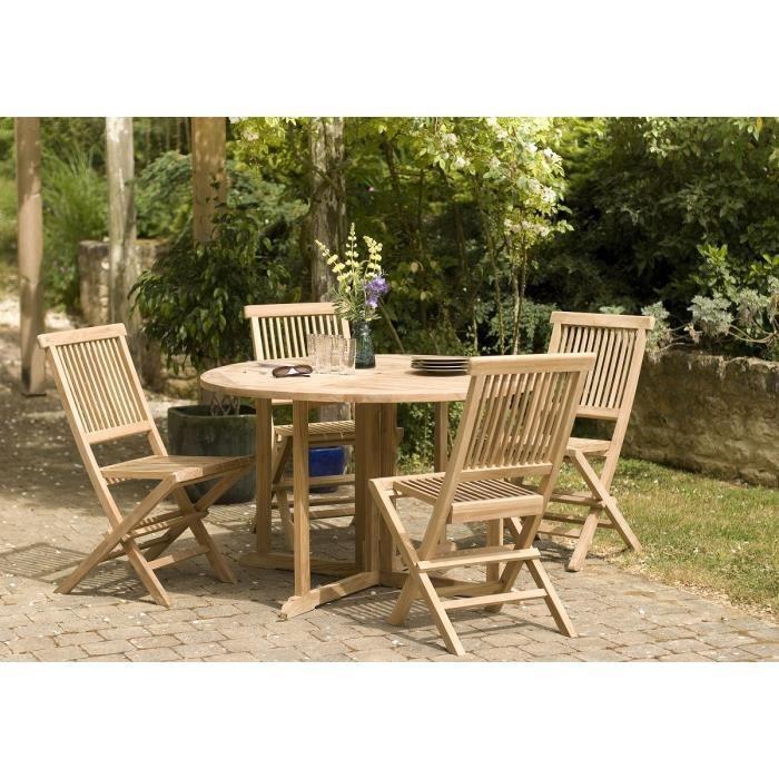Ensemble en bois teck table ronde papillon de jardin et 4 ...