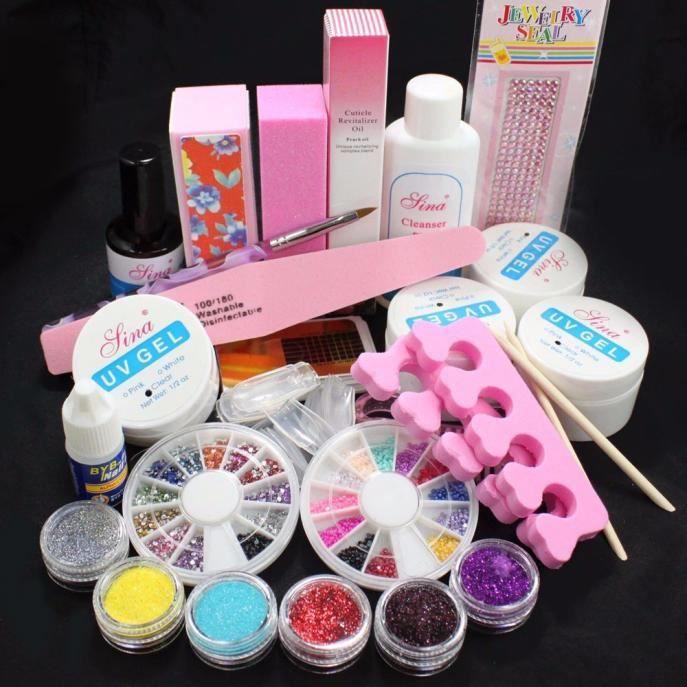 Ensemble de kit de conseils de gel UV pour ongles en acrylique en poudre de paillettes acryliques complètes NAIL KIT 23