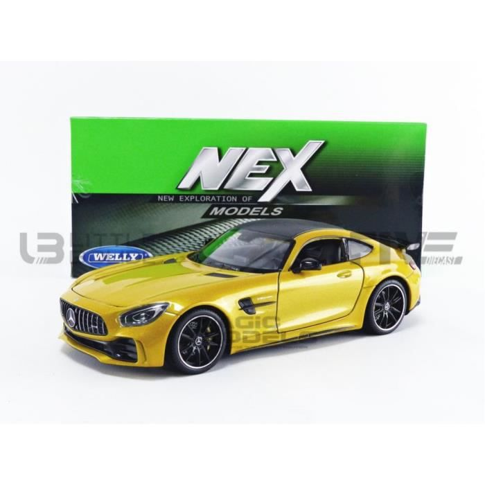 Voiture Miniature de Collection - WELLY 1/24 - MERCEDES-BENZ AMG GT-R - 2017 - Yellow - 24081Y