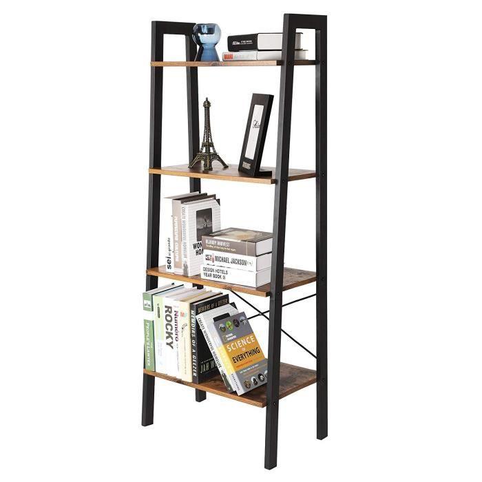 DIYA Meuble Etagère à 4 Niveaux(53x34x138cm), Meuble de Rangement, Bibliothèque Rétro Style Industriel - Pieds Métal