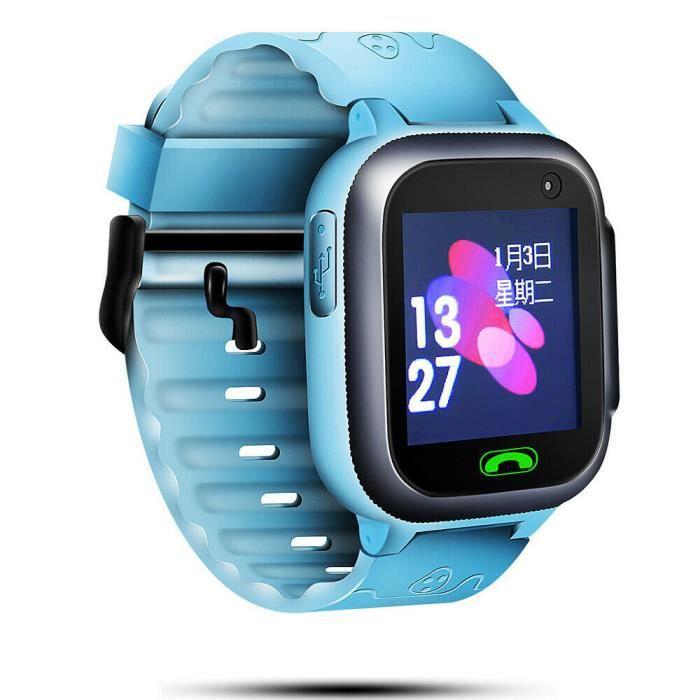 Montre Connectée Enfant 32 Mo + 32 Bleu clair Smartwatch LBS Tracker avec Caméra Appel SOS Calendrier Réveil pour Android iOS