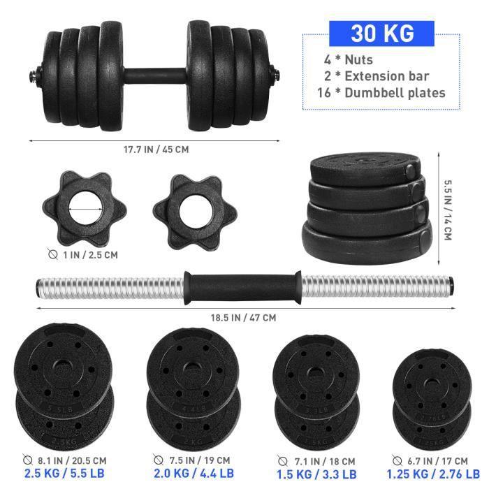 1 paire de 30 kg haltère réglable - BESPORTBLE -