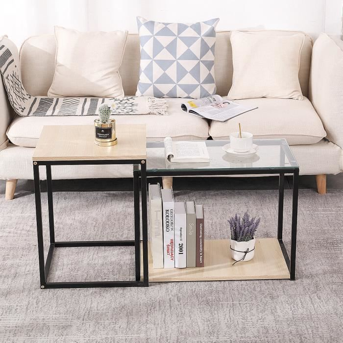 Keisha°table gigogne lot de 2 table basse appoint plateau carré en bois et verre avec pieds en métal bout de canapé