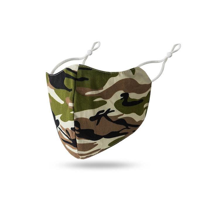 Masque lavable en coton respirable en coton réglable imprimé camouflage lavable adulte sécurité sportive604