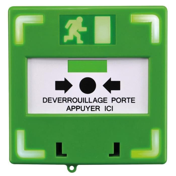Déclencheur manuel vert lumineux et sonore - Alarme autonome