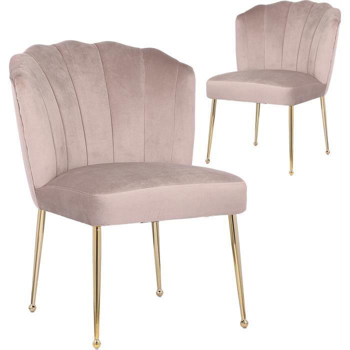 Lot de 2 Chaises de salle à manger design revetement en velour taupe et piètement en acier doré collection NORA VIV-95756 Or, Taupe