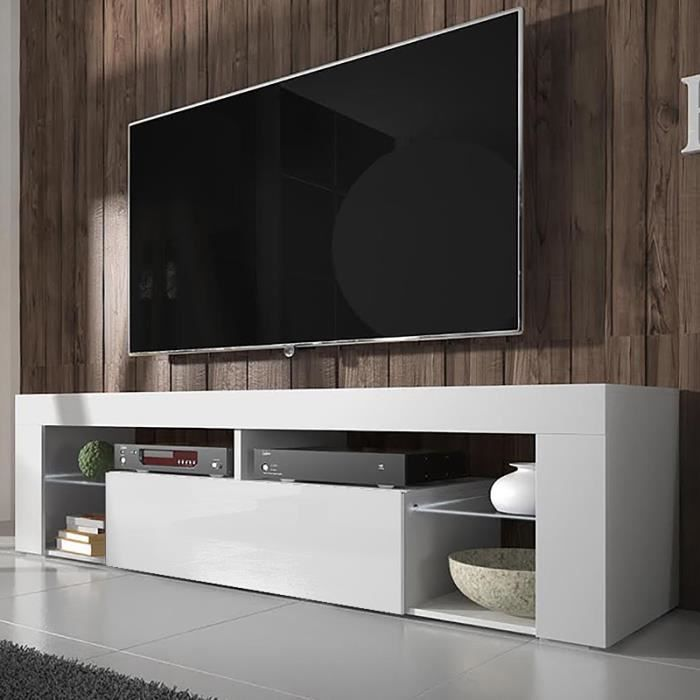 Meuble TV / Banc TV - BIANKO - 140 cm - blanc mat / blanc brillant - sans LED - style moderne - tablette en verre
