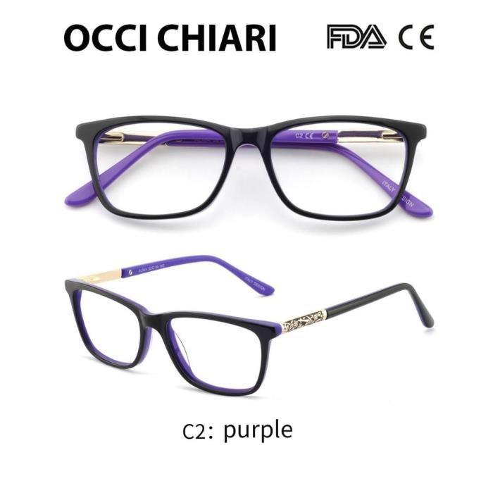 Montures de Lunettes de vue,OCCI CHIARI lunettes de vue cadres pour femmes marque de créateurs de haute qualité - Type C2 purple